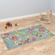vidaXL Play Mat Loop Pile 100x165 cm City Road Pattern