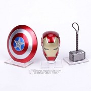 SOJITRA Avengers Super Hero Mini Weapons Captain America Shield + Iron Man Helmet + Thor Hammer Figures Model Toys With LED Light-3pcs/set