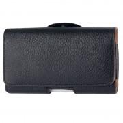 Belt Clip Leather Wallet Carry Case Pouch for Mobile Phones - Black