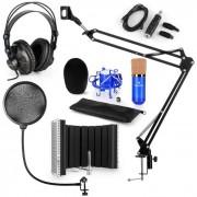 Auna CM001BG set de micrófono V5 micrófono condensador adaptador USB protección anti pop escudo brazo de micrófono azul (60002044-V5KO&KH)
