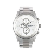 【50%OFF】CHRONOGRAPH Ⅱ クロノグラフ ラウンド ウォッチ フェイス:ホワイト ベルト:シルバー ファッション > 腕時計~~メンズ 腕時計