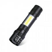 Mini Lanterna LED 1W+1W COB LED cu Zoom si Clips Prindere pe Baterii