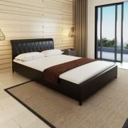 vidaXL Честърфийлд легло от изкуствена кожа, черно, 140 х 200 см
