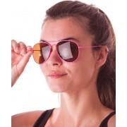 PARTYPRO - Fluo roze aviator zonnebril voor volwassenen - Accessoires > Brillen