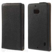 Кожен калъф flip с грапава кожа за Nokia Lumia 930 - черен