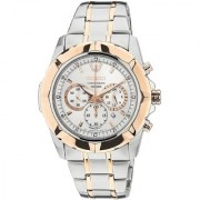 Seiko Round Dial Silver Stainless Steel Strap Chronograph Watch for Men - SRW026P1
