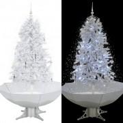 vidaXL Коледна елха с валящ сняг и основа от чадър, бяла, 170 см