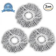 Smile Mom Spin Mop Head Microfiber Refill for Floor Cleaning White Grey ( 130 Gram Pack of 3 )