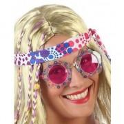 Fiesta carnavales Hippie verkleed bril met roze glazen voor volwassenen