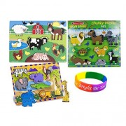 Melissa & Doug Deluxe Wooden Safari And Pets Wooden Chunky Puzzle & Farm Peg Puzzle With Dimple Bracelet