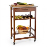 Klarstein Room Service Serving Trolley Kitchen Wagon Wine Rack Granite Plate Brown