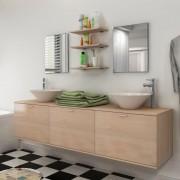 vidaXL Set mobilier baie din opt piese cu chiuvetă inclusă, bej