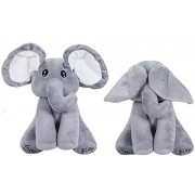 "14"" Elephant Plush toy, OMGOD peek-a-boo / hide-and-seek game Baby Animated Plush Elephant Doll - Gray"