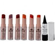 Ads Cinema Beauty Glossy Shine Forever Lipstick Pack Of 6 And Free Kajal-Gptgp-B3