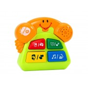 Jucarie muzicala cu sunete, model Telefon galben, Globo Vitamina G, pentru copii