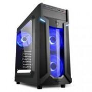 Кутия Sharkoon Middle VG6-W Blue Led, ATX/Mini ITX/Micro-ATX, 2x USB 3.0, 2x USB 2.0, прозорец, 2x вентилатора отпред, 1х вентиалтор отзад, черна, със синя LED подсветка, без захранване