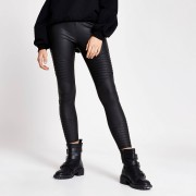 River Island Womens Black matte coated biker leggings (16)