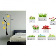 EJA Art Flower Vase YellowWall Sticker With Free Flowers Switch Board Sticker Matrial - PVC Color - Multicolor