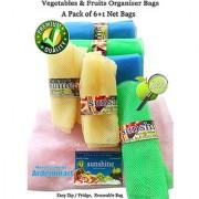 Sunshine Fridge Storage Net Bag / Vegetable Fruit Organizer A pack of (6+1) Eco friendly Multipurpose Reusable Bag.