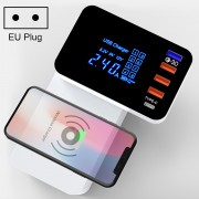 5-port Smart Wireless Charger Multi-function Foldable Fast Charging Power Adapter with LED Display - EU Plug