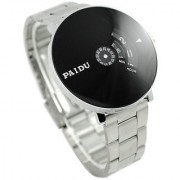 KDS New Men look Stainless Silver Band PAIDU brand handsome and wise Wrist Watch Black Turntable Dial Men's Gift