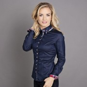 Női sötét kék ing Willsoor kockás sima 5196