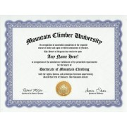 Mountain Climbing Mountaineer Mountaineering Degree: Custom Gag Diploma Doctorate Certificate (Funny Customized Joke Gift - Novelty Item)