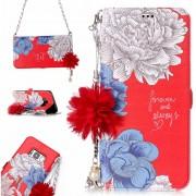Para Samsung Galaxy S8 Rojo Background Dibujo De Crisantemo Con Soporte Y Funda De Cuero Flip Horizontal Ranuras De Tarjeta Y Perla Adorno Flor Y Cadena