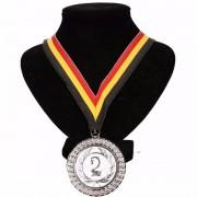 Geen Medaille aan halslint geel/rood/zwart