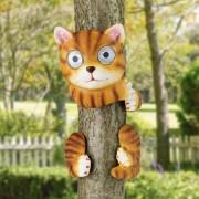 Napelemes fára mászó macska világítás 30 cm hideg fehér