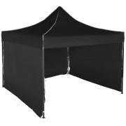 Gyorsan összecsukható sátor 3x3 m – acél, Fekete, 3 oldalfal