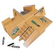 Kidsdream 8pcs Skate Park Kit Ramp Parts for Tech Deck Fingerboard Mini Finger Skateboard Fingerboards Ultimate Parks with 3PCS Finger Boards