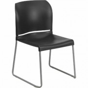 Flash Furniture Plastic Stack Chair with Sled Base - Black, 880-Lb. Capacity, Model RUT238ABK