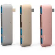 C1 5-in-1 Type C convertor ( 1x SD Card, 1x Micro SD Card, 3x USB 3.0) - Zilver