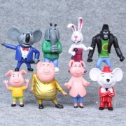 8pcs / Set Cartoon Movie Sing Action Figure Toys Buster Moon Johnny Dolls 7-10cm