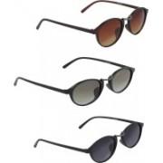 Vast Oval Sunglasses(Golden, Grey, Green)