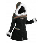 Rosegal Manteau à Capuche Tribal en Tricot avec Fausse Fourrure Grande Taille 2X