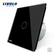 Buton sonerie cu touch Livolo din sticla, negru