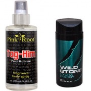 Wild Stone Hydra Energy Body Deodorant 150ml and Pink Root Tag-Him Pour Homme Fragrance body Spray 200ml Pack of 2