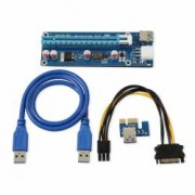 Kit grafic riser card VER006C minat cu placa PCI-E 164P 1X la 16X cablu 6pini la Sata si extensie USB 3.0