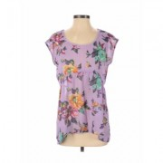 Love 2 be Loved Short Sleeve Blouse: Purple Floral Tops - Size Small
