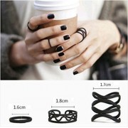 ITS -3PCS Black Punk Stack Plain Above Knuckle Ring Midi Finger Rings Set.