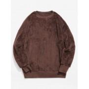 ZAFUL Sweat-shirt Fourré Solide à Col Rond Sépia 2XL