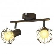 vidaXL Черна лампа с 2 LED крушки с нажежаема жичка и геометрична рамка