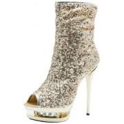 The Highest Heel Diamond-31 Botas para Mujer, Lentejuelas Doradas, 10
