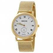 NEOS Klassische goldene Uhr mit Saphirkristall aus Edelstahl