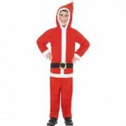 Costum Mos Craciun copii salopeta cu gluga 140 cm 8-10 ani