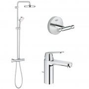 Pachet: Coloana dus Grohe New Tempesta 210-27922001, Baterie lavoar inaltime medie Grohe Eurosmart Cosmo M-23325000, Agăţătoare Grohe BauCosmopolitan-40461001