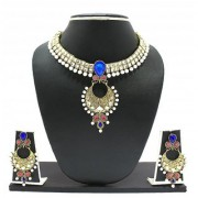 Zaveri Pearls Unique Polki Blue Necklace Set for Women-ZPFK1940