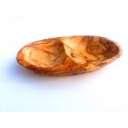 Dvojitá oválná miska z olivového dřeva 16cm